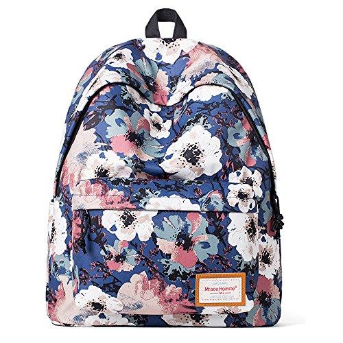 Minetom Poliéster Backpack Mochilas Escolares Mochila Escolar Casual Bolsa Viaje Moda Flores Azules Mujer Azul One Size