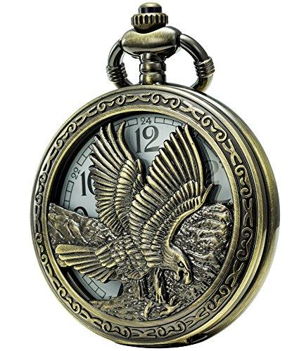 SEWOR Japan Quartz Movement Pocket Watch with Double Chain (Metal & Leather) (Eagle)