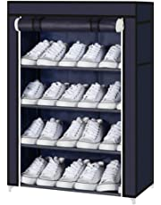 4 Layer Shoe Rack for Home Cabinet with Cover Water-Proof & Dust-Proof Shoes Storage Organizer Entrance Door 60 x 30 x 72 cm [Navy]