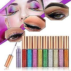 10 Farben Eyeliner Glitzer Set,Glitter Liquid Eyeliner Schimmer Wasserdichte Metallic Liquid Lidschatten für Party, Cosplay, Maskerade