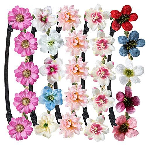 Blumen Stirnband,WolinTek Haarband Stirnbänder Krone Kopfband Blume Haarbänder mit justierbaren Elastischem Band für Hochzeit (Stlye2-5 Stück) (Blume Kronen)