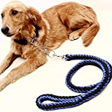 Da.Wa 130cm Hohe Qualität Haustier Hund Geflochtene Nylon Seil Durable Hundeleine Blei Heavy Duty(Schwarz+Blau)