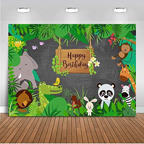 Mehofoto Safari Birthday Background 7x5ft Dschungel Safari Happy Birthday Kulissen für Fotografie Tierwelt Frühling Wald Fotografie Hintergrund