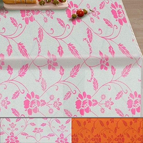 casa pura Gartentischdecke Monika   weiß mit Trend Blumenmuster in pink   Weichschaum Tischdecke für Garten und Balkon   rechteckig 130 cm x 160 cm