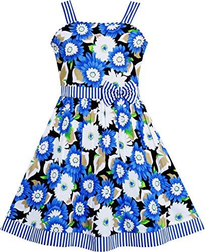 Sunboree Mädchen Kleid Ärmellos Blume Muster Bogen Binden Gestreift Trimmen Gr.110