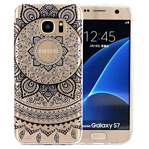 Galaxy s7 Cover, JIAXIUFEN TPU Gel Protettivo Skin Custodia Protettiva Shell Case Cover Per Samsung Galaxy S7 - Black Circle Flower Tribal Mandala