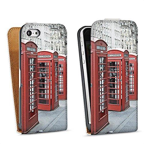 Apple iPhone 5s Housse étui coque protection Cabine téléphonique rouge Angleterre Grande-Bretagne Sac Downflip blanc