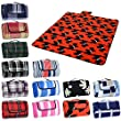 Red & Blue Stripe Folding Fleece Blanket Camping Beach Waterproof Picnic Mat Rug