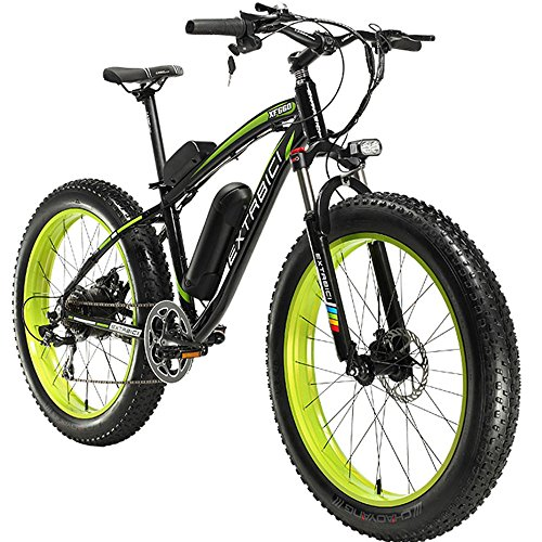 Extrbici E-Bike Mountainbike,XF660 500W 48V 10,4 Ah Akku,26 \'X4.0 MTB Reifen,Elektrofahrrad 17 Zoll Aluminiumlegierung Rahmen 7 Geschwindigkeit Shimano Schaltwerk (Black Green)