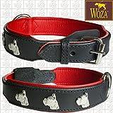 Woza Premium HUNDEHALSBAND Boxer Vollleder SCHWARZ Rindleder Nappa ROT Handmade Collar (3.8/60 (43-53CM))