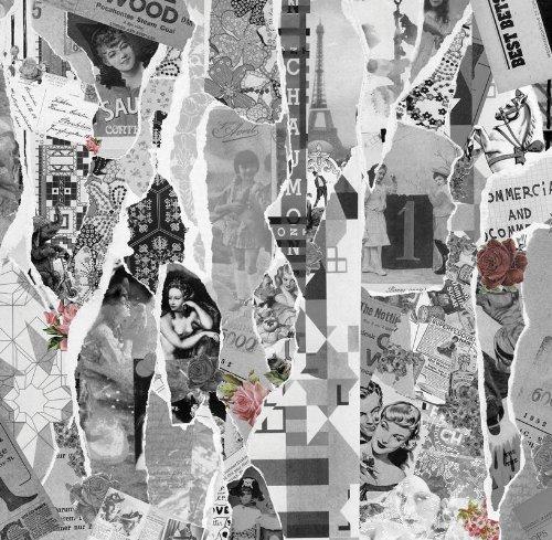P030201–6PAPEL DE PARED DE ARTE POP DE COLLAGE MEMORY S/W