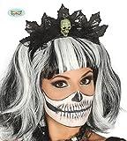 schwarzer Haarreif mit Spitze und Totenkopf Halloween Zubehör Horror Party Schädel