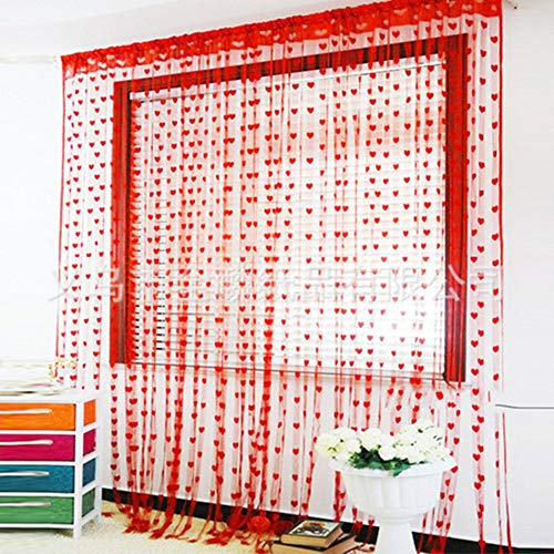 YQ WHJB Süßes Herz Tür fadenvorhang,Fenster Zeile Quaste Zimmer teiler Romantisch In ihrem zuhause Dekoration Volant Stange Tasche-A W100xD200cm(W39xD79inch)