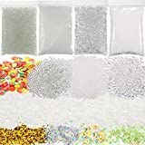 Perles de Bocal Perles de Riz Briller pour Slime, Vase en Plastique Transparent Perle de Remplissage Boules de Mousse et Tranches de Fruits pour Slime Making Art DIY Artisanat