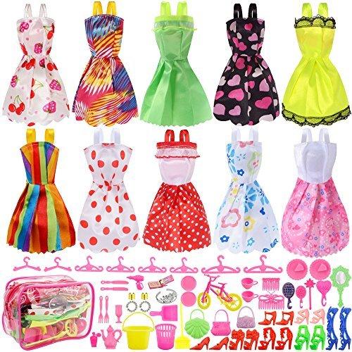 Total 66pcs - 10 Pack Puppenkleidung Party Kleid Outfits + 55pcs Puppen Zubehör Schuhe Taschen Halskette Spiegel Aufhänger Geschirr für Barbie Doll Girl Geburtstagsgeschenk Party Kleid Outfit
