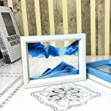 CooCu , Framed Sand Art - Moving Sand Picture - Desktop Art , Voted Best Gift! (Black, White, Blue)