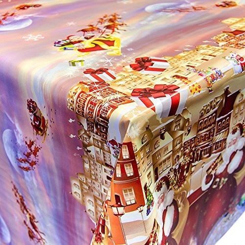Tovaglia cerata con motivo natalizio., plastica, colori assortiti, 240x140cm