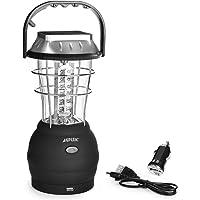 Lanterne solaire - AGPtek 36 LEDs Lampe de Camping USB Rechargeable - 5 Modes de Rechargement avec Dynamo à manivelle, Panneau solaire, USB Port, Adaptateur Voiture et Secteur - Lumière d'urgence pour Camping, pêche