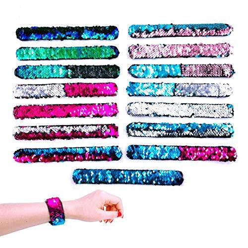 JZK 15 x Meerjungfrau Armbänder Pailletten Slap Armband Spielzeug für Kinder Mädchen Gastgeschenke Party Favors Supplies Geburtstag Geschenke