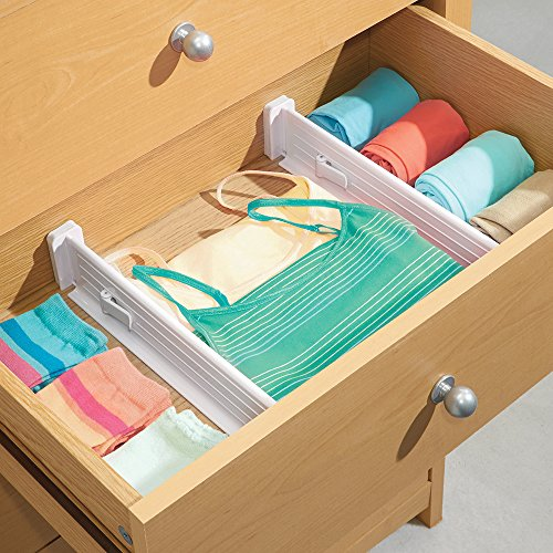 mDesign 4er-Set Schubladen-Organizer - dank verstellbarer Trennelemente Schublade organisieren - Schubladeneinsatz für Küchen- & Schlafzimmerschubladen - weiß