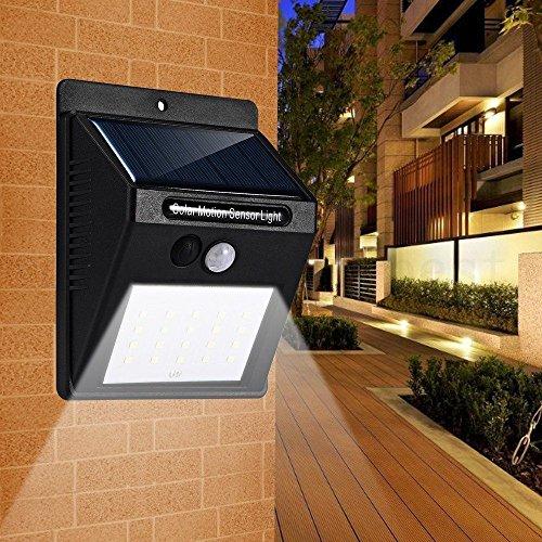 Zolmax 20 LED Solar Powered PIR Motion Sensor Light Outdoor Garden Security Wall Lights (2 Pack)