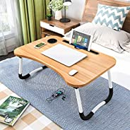 LELE Folding Bed Table Laptop Tray with iPad and Cup Holder Adjustable Lap Tray Notebook Stand Foldable Portab