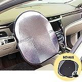 Big Ant Lenkradhitzeschutz Lenkradhülle Sonnenlicht Schatten passend für die meisten Autos +Bonus 2 X Seite Fenster Sunshade, Sliver (51,1x 43,9cm)
