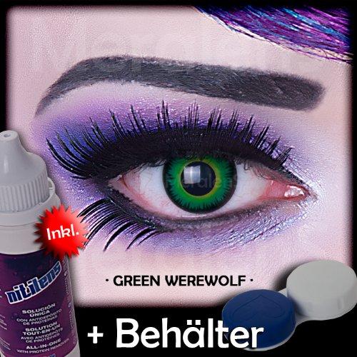 Farbige grüne Kontaktlinsen crazy Kontaktlinsen crazy contact lenses Green Werewolf Werwolfsaugen 1 Paar. Mit Linsenbehälter + 60ml Pflegemittel