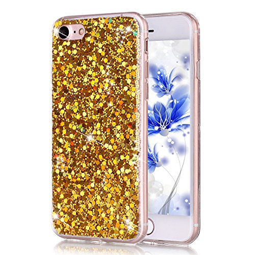 Coque Housse Etui pour iPhone 7/iPhone 8, iPhone 7/8 d'or Coque en Silicone Placage Coque Clair Ultra-Mince Etui Housse Glitter Paillette,iPhone 7 Silicone Case Gold Slim Soft Gel Cover with Diamond,  Puce flash couleur-d'or