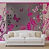 Muster Blumen Schmetterlinge Natur - Wallsticker Warehouse - Fototapete - Tapete - Fotomural - Mural Wandbild - (885WM) - XXXL - 416cm x 254cm - VLIES (EasyInstall) - 4 Pieces