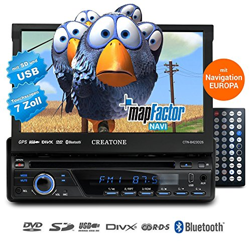 1) 1DIN Autoradio mit Navigation, Bluetooth, DVD-Player und USB/SD-Funktion CREATONE SL-8423D26