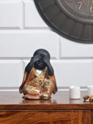 @home by Nilkamal Closed Eye Monk Showpiece, Copper