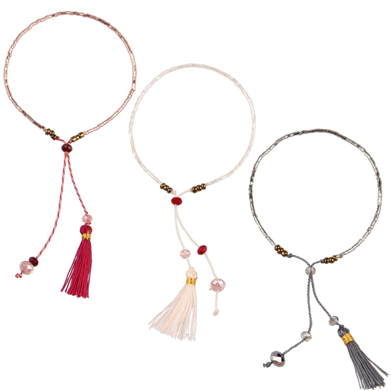 KELITCH Armband 3 Stück aus Rocailles Perlen Handmade Schnur Freundschaftsarmbänder mit farbig Quaste Anhänger - Grau/Rosa/Rot