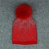 Doppelkopf Cap Kabel Bobble Hut Slouchy Beanie Hüte Mit Kunstpelz Cap Für Frauen Mädchen,E