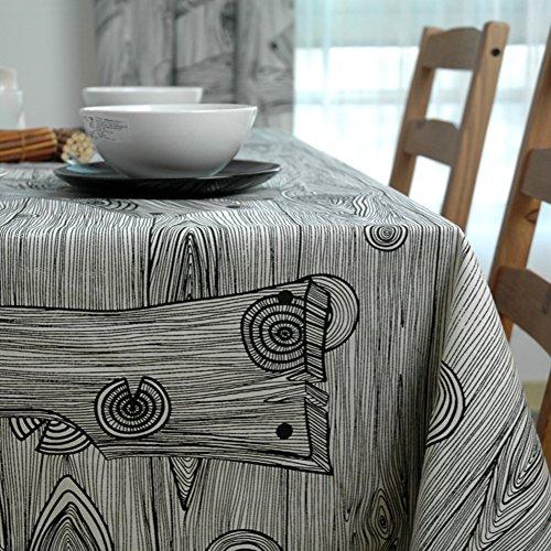 ,tee tischdecke,baumwollstoff,schwarze und weiße holz gestreift tischtuch,einfachen stil-A 140x140cm(55x55inch) (Schwarz-weiß Gestreiftes Tischtuch)