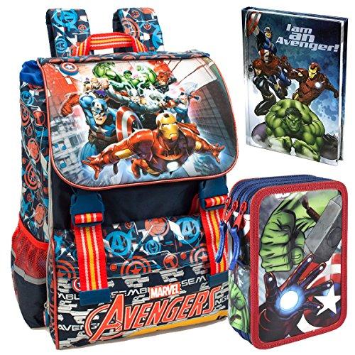 Marvel Avengers CLONDO-0029 Zaino da Scuola, Estensibile + Astuccio, 3 Scomparti + Diario Scuola, Captain America, Iron Man, Thor, Hulk