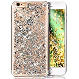 Coque iPhone 6S Plus,Coque iPhone 6 Plus,Shiny Sparkly Bling Glitter Paillettes brillant cristal [feuille d'or] Transparente Silicone Gel TPU Souple Housse Etui Coque pour iPhone 6S Plus/6 Plus,Argent