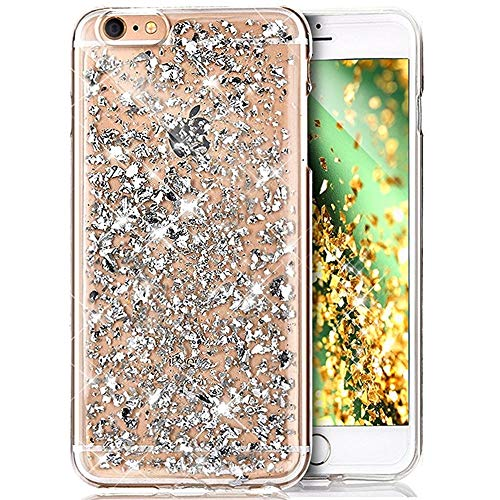 Coque iPhone 6S,Coque iPhone 6,ikasus Shiny Sparkly Bling Glitter Paillettes brillant cristal [feuille d'or] Transparente Silicone Gel TPU Souple Housse Etui Coque pour iPhone 6S/6,Argent Feuille d'or