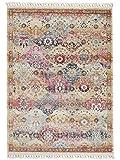 Benuta Teppich Simsala Beige/Multicolor 140x200 cm - Vintage Teppich im Used-Look