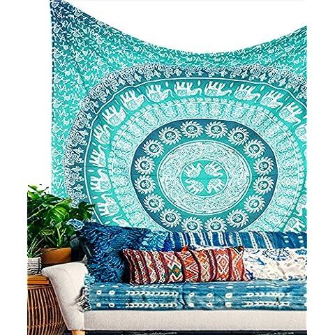 Kesrie blue green elephant circular pattern geometric wall hanging mandala indian print