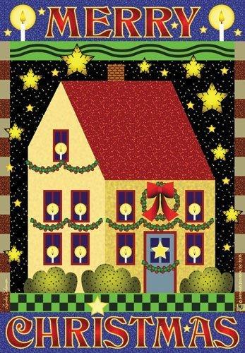 feliz-navidad-24-x-36-country-house-la-bandera-saltbox-casa-y-estrellas-por-jeremiah-junction