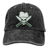 U-Only Skull Chef Green Denim Hat Adjustable Men Stretch Baseball Hats