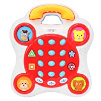 Kiddale Educational Musical Telephone Toy with Phone Receiver Along with Animal, Number, Music, Song, Word and Quiz Keys, Baby Learning Machine with Music-Red