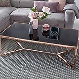 FineBuy Design Couchtisch Cross Kupfer Schwarz Glas 120 x 60 x 40 cm | Wohnzimmertisch mit Glasplatte Sofatisch verspiegelt | Moderner Glastisch Lounge Tisch Rechteckig | Beistelltisch Metall Beine