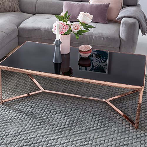 Design Verre Table Basse Dessus cuivre Noir/Cadre 120x60x40cm | Miroir Table Basse Table Basse Moderne | Table Table Basse en Verre Table de Salon carré