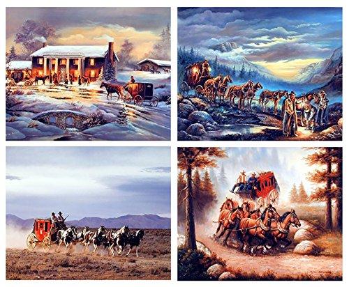 Western Wall Decor Bild Cowboy Pferd Scenery Four Set Art Print Poster 16 x 20 cm
