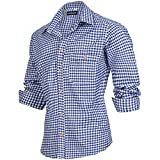 PAULGOS Trachtenhemd kariert in 6 Farben Gr. S-5XL mit Krempelärmeln, Farbe:Dunkelblau, Größe:S