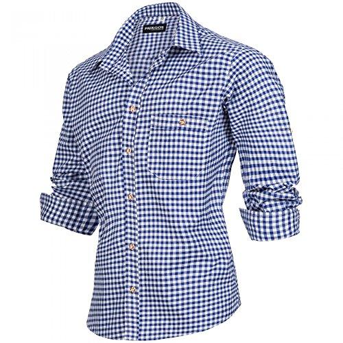 PAULGOS Trachtenhemd kariert in 6 Farben Gr. S-5XL mit Krempelärmeln, Farbe:Dunkelblau, Größe:XL