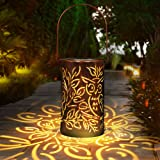 infinitoo Solar Lantern lights, Solar Lights Outdoor Waterproof Glass Lantern Table Lamps Great Outdoor Lawn Décor for Patio
