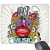 Graffiti Street Kultur Colorful Mund-Flash Cloud Musik Vector American Art Illustration Muster Rechteck rutschfeste Gummi Mauspad Spiel Maus Pad